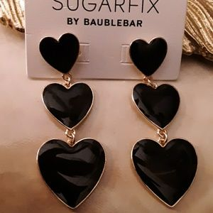Black Enamel Heart Dangle Earrings